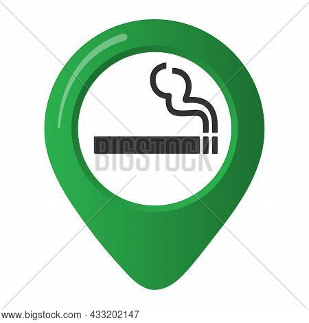 Smoking Area Marker Map Pin Icon Sign With Flat Design Gradient Styled Cigarette In The Green Circle