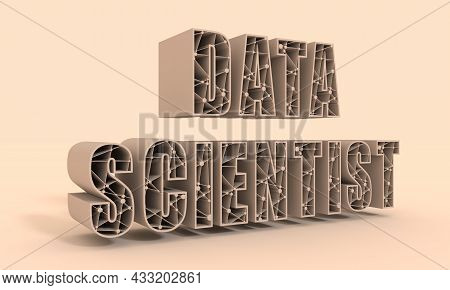 Data Scientist Text. Lines With Dots Connected Style