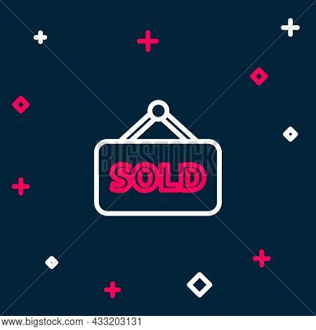 Line Hanging Sign With Text Sold Icon Isolated On Blue Background. Sold Sticker. Sold Signboard. Col