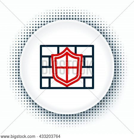 Line Shield With Cyber Security Brick Wall Icon Isolated On White Background. Data Protection Symbol