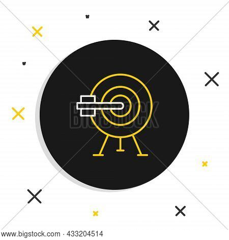 Line Target With Arrow Icon Isolated On White Background. Dart Board Sign. Archery Board Icon. Dartb