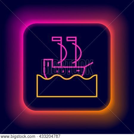Glowing Neon Line Sailboat Or Sailing Ship Icon Isolated On Black Background. Sail Boat Marine Cruis