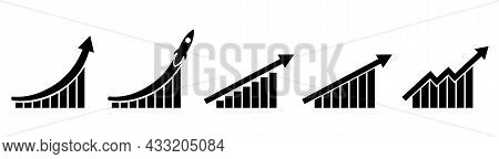 Arrow With Blocks For Illustration Of Phased, Progress, Increase In Profits. Symbol For Economy, Suc