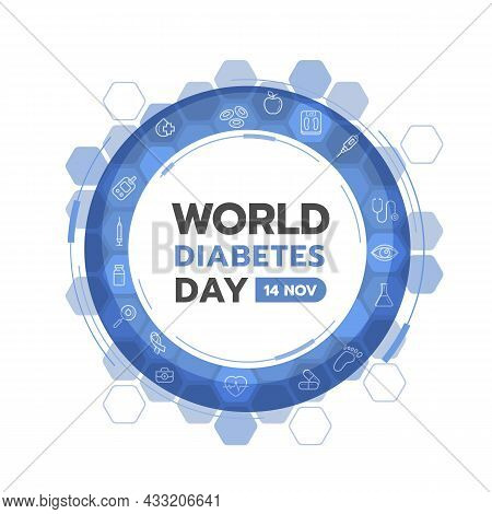 World Diabetes Day Banner - Abstract Ring Blue Sign With Icon Of Medical Devices And Drugs Related T