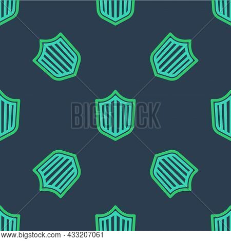 Line Shield Icon Isolated Seamless Pattern On Blue Background. Guard Sign. Security, Safety, Protect