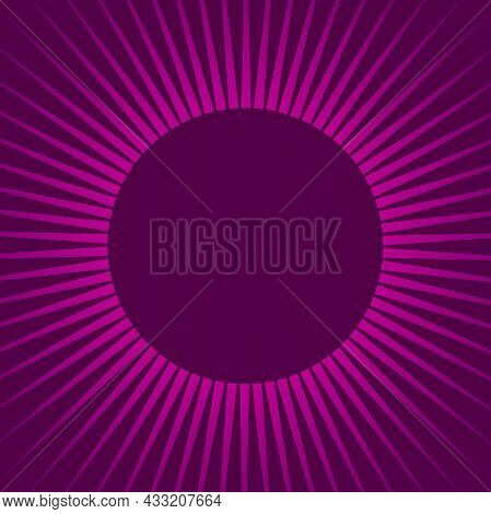 Sunlight Rays Retro Background With Round Frame For Text. Bright Purple Color Burst Background. Vect