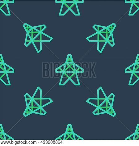 Line Electric Tower Used To Support An Overhead Power Line Icon Isolated Seamless Pattern On Blue Ba
