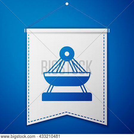 Blue Boat Swing Icon Isolated On Blue Background. Childrens Entertainment Playground. Attraction Rid