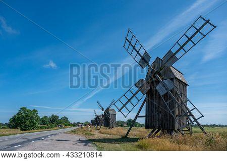 Windmills At Lerkaka In The Countryside Of Swedish Baltic Sea Island