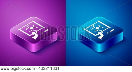 Isometric Radioactive Waste In Barrel Icon Isolated On Blue And Purple Background. Barrel With Radio