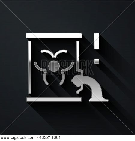 Silver Radioactive Waste In Barrel Icon Isolated On Black Background. Barrel With Radioactive And To