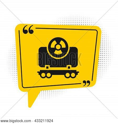 Black Radioactive Cargo Train Wagon Icon Isolated On White Background. Freight Car. Railroad Transpo