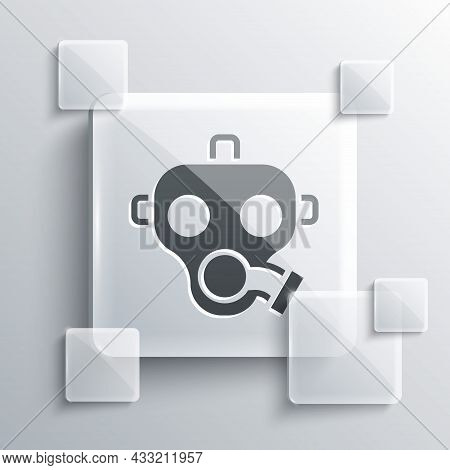 Grey Gas Mask Icon Isolated On Grey Background. Respirator Sign. Square Glass Panels. Vector