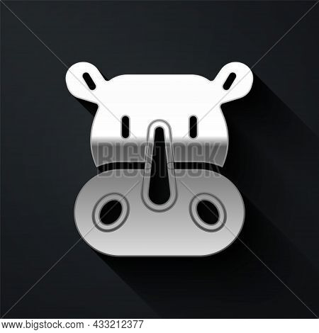 Silver Rhinoceros Icon Isolated On Black Background. Animal Symbol. Long Shadow Style. Vector