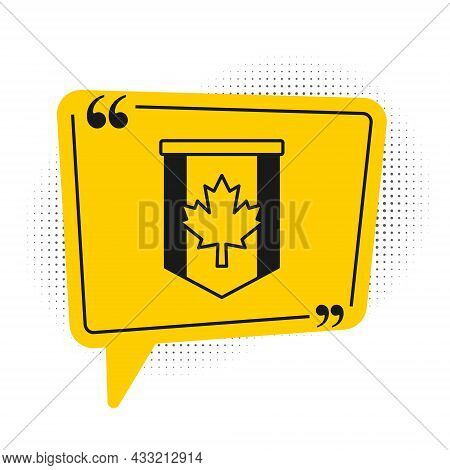 Black Pennant Flag Of Canada Icon Isolated On White Background. North America Country Flag. Yellow S