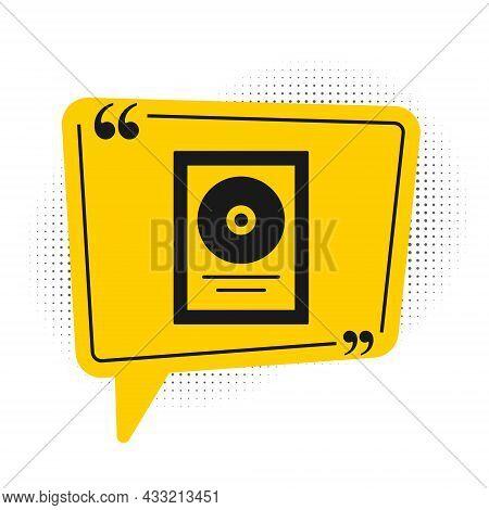 Black Cd Disk Award In Frame Icon Isolated On White Background. Modern Ceremony. Best Seller. Musica