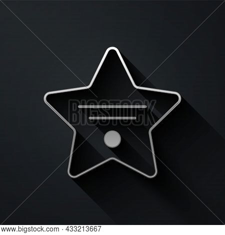 Silver Walk Of Fame Star On Celebrity Boulevard Icon Isolated On Black Background. Hollywood, Famous