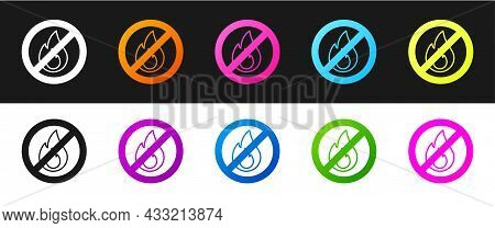 Set No Fire Icon Isolated On Black And White Background. Fire Prohibition And Forbidden. Vector