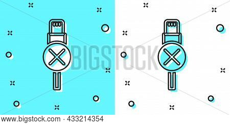 Black Line No Usb Cable Cord Icon Isolated On Green And White Background. Connectors And Sockets For