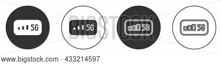 Black 5g New Wireless Internet Wifi Connection Icon Isolated On White Background. Global Network Hig
