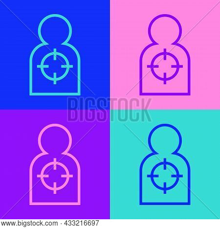 Pop Art Line Human Target Sport For Shooting Icon Isolated On Color Background. Clean Target With Nu