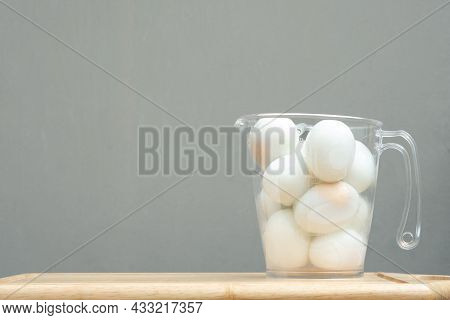 Boiled Eggs. Boiled Eggs In Jar On Wooden Table.
