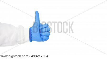 Medical Personnel Hand Thumb Up Isolated On White Background With Copy Space And Clipping Path