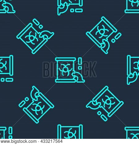 Green Line Radioactive Waste In Barrel Icon Isolated Seamless Pattern On Blue Background. Barrel Wit
