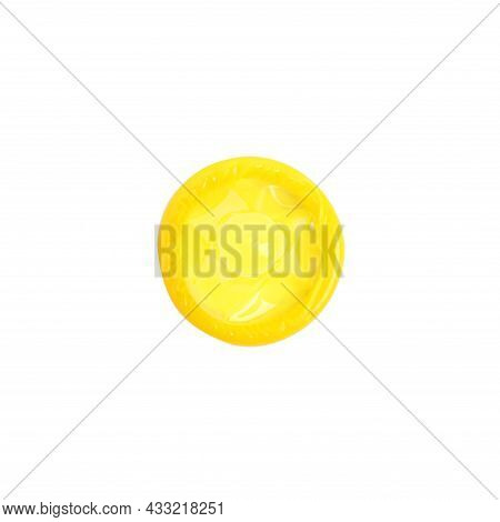 Unpacked Yellow Condom Isolated On White, Top View. Safe Sex