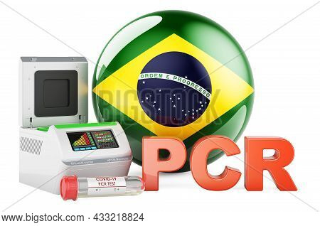 Pcr Test For Covid-19 In Brazil, Concept. Pcr Thermal Cycler With Brazilian Flag, 3d Rendering Isola