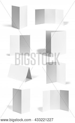 Collection Of Various Blank Folded Leaflet Or A Desktop Calendar White Paper On White Background. Ea