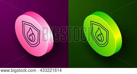 Isometric Line Fire Protection Shield Icon Isolated On Purple And Green Background. Insurance Concep