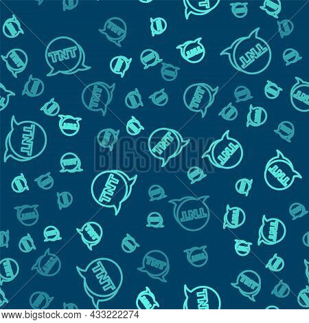 Green Line Detonate Dynamite Bomb Stick Icon Isolated Seamless Pattern On Blue Background. Time Bomb
