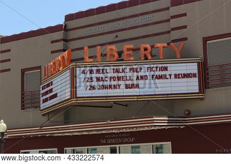 Tyler, Tx - April 21, 2019: Liberty Theater And East Texas Symphony Located In Downtown Tyler, Tx
