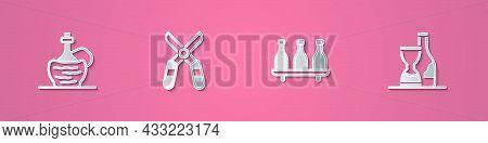 Set Paper Cut Wine In Italian Fiasco Bottle, Gardening Scissors, Bottle Of Wine And Icon. Paper Art