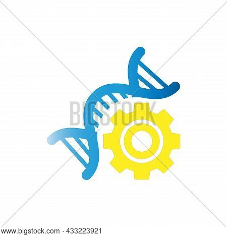 Illustration Of An Isolated Gear With An Icon, Dna