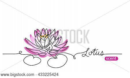 Pink Lotus Flower One Line Art Drawing. Simple Vector Line Illustration For Label Design With Letter