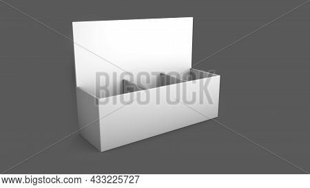 Blank Counter Top Product Display For Mock Up And Branding Display Cardboard Gondola Shelf. Mockup,