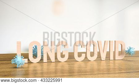 Long Covid Text And Virus For Medical Or Outbreak  Concept 3d Rendering