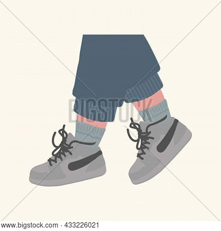Poster Of Feet In Sneakers. Stylish Sports Shoes Sneakers, Shoes, Boots. Illustration Of Human Feet