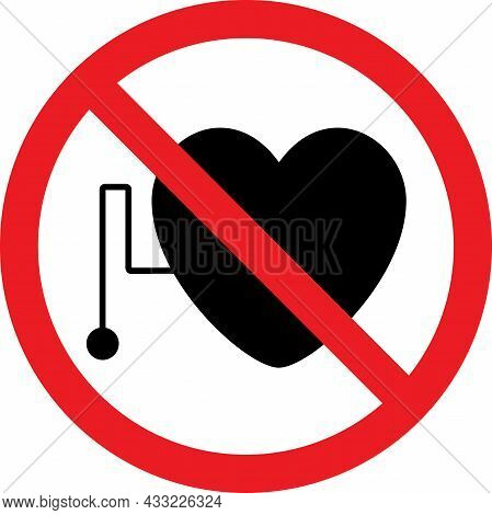 No Pacemakers Allowed Sign. Red Circle Background. Microwave Safety Signs And Symbols.