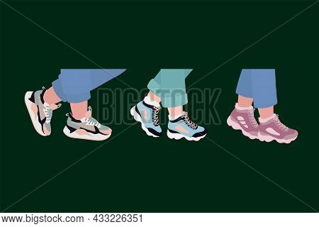 Legs Of A Man In Sneakers. Stylish Sports Shoes For Running, Sneakers, Shoes, Boots. Vector Illustra