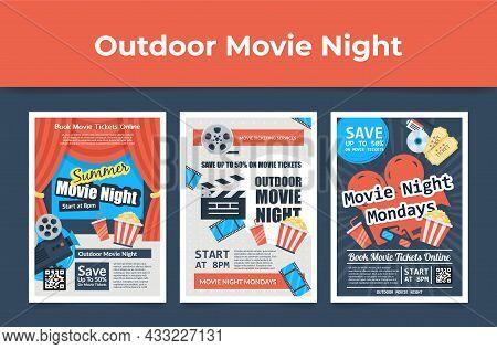 Set Outdoor Movie Night Poster Vector Flat Cartoon Illustration. Collection Open Air Cinema Promo
