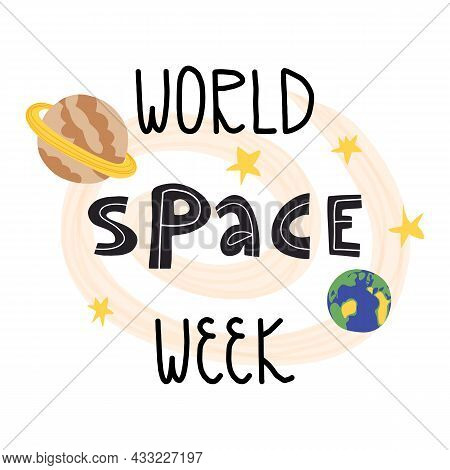 World Space Week Card, Banner Design. Cute Hand-drawn Milky Way And Planets Surrounded By The Stars.