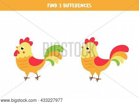 Find Three Differences Between Two Pictures Of Cute Roosters.