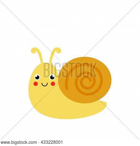 Vector Picture Of Cute Snail Isolated On White Background. Simple Illustration.