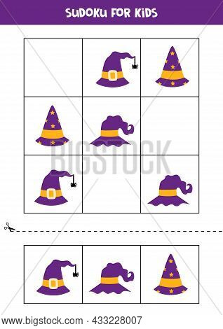 Sudoku Game For Kids With Halloween Hats.