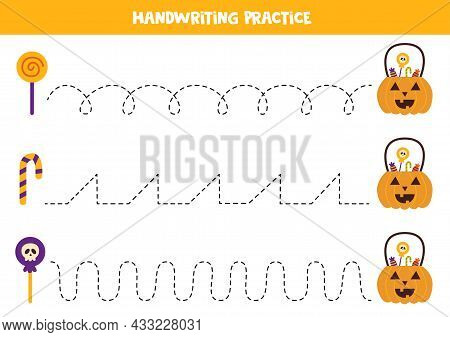 Tracing Lines For Kids With Halloween Lantern And Sweets. Handwriting Practice.