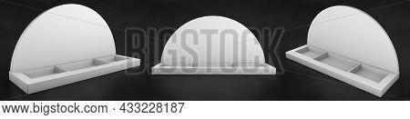 Blank Portrait Counter Top Product Display For Mock Up And Branding. 3d Render Illustration. Cardboa