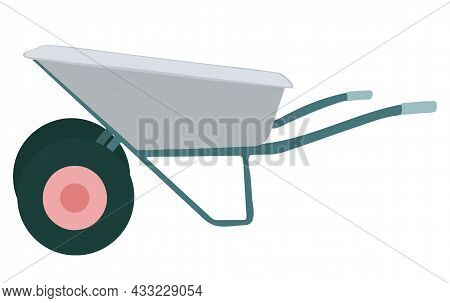 Garden Wheelbarrow. Tools And Inventory. Isolated Vector Element On White Background. Hand Drawn Ill